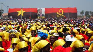 Meeting du MPLA, le parti au pouvoir, à Malanje jeudi 17 août lors de la campagne pour les élections en Angola du mercredi 23 août 2017.