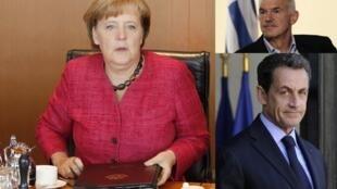 La chancelière allemande Angela Merkel, l'ancien Premier ministre grec Georges Papandréou et le président de la République française, Nicolas Sarkozy.