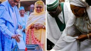 O Presidente Muhammadu Buhari e o seu rival Atiku Abubakar, quando votavam, sábado, nas suas respectivas cidades de Daura e de Yola. 23 de Fevereiro de 2019