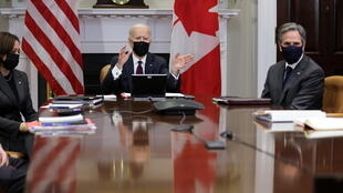 Le président américain Joe Biden, la vice-présidente Kamala Harris et le chef de la diplomatie américaine Antony Blinken à la Maison Blanche, le 23 février 2021.