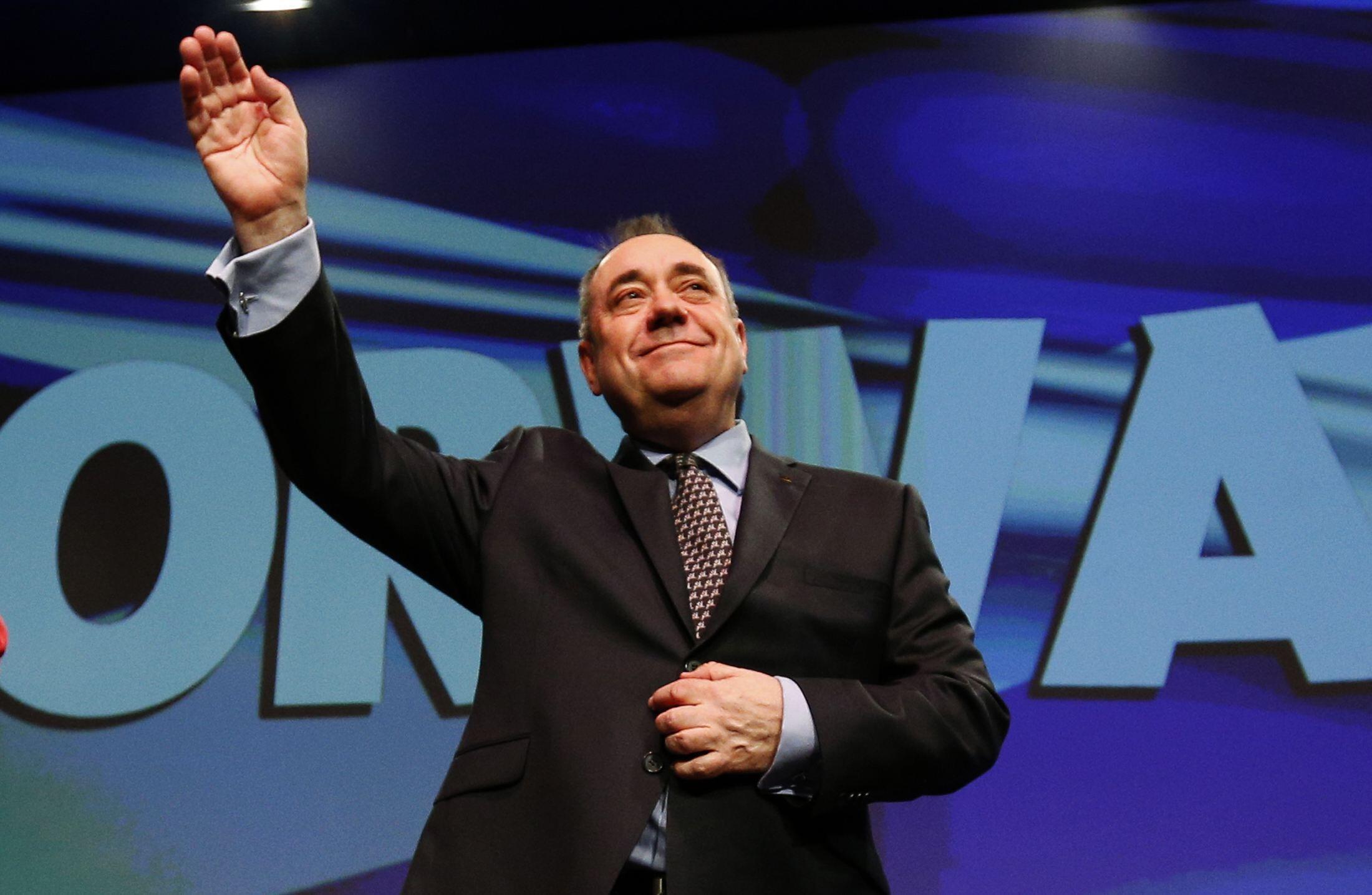 Le Premier ministre écossais Alex Salmond devant un millier de partisans réunis pour le dernier congrès de son Parti national écossais (SNP) avant le référendum du 18 septembre prochain. (Aberdeen, le 12 avril 2014).