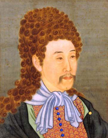 雍正帝(1723-1735)半身西服像屏