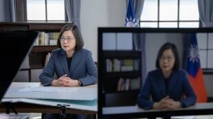 台湾總統蔡英文2021年5月10日在第4屆「哥本哈根民主高峰會」視訊會議發表演說,