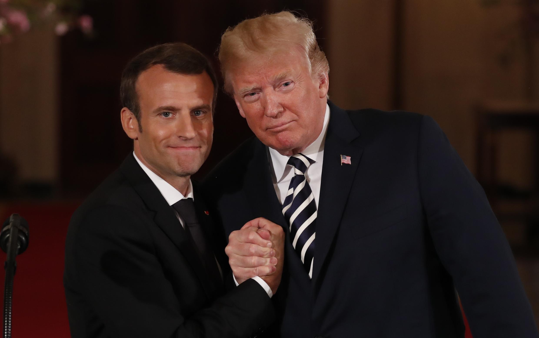 Эмманюэль Макрон (слева) и Дональд Трамп в Белом доме, Вашингтон, 24 апреля 2018.