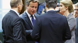 El premier italiano Enrico Letta, el premier británico David Cameron, el premier croata Zoran Milanović y la premier danesa Helle Thorning-Schmidt en Bruselas, este 28 de junio.