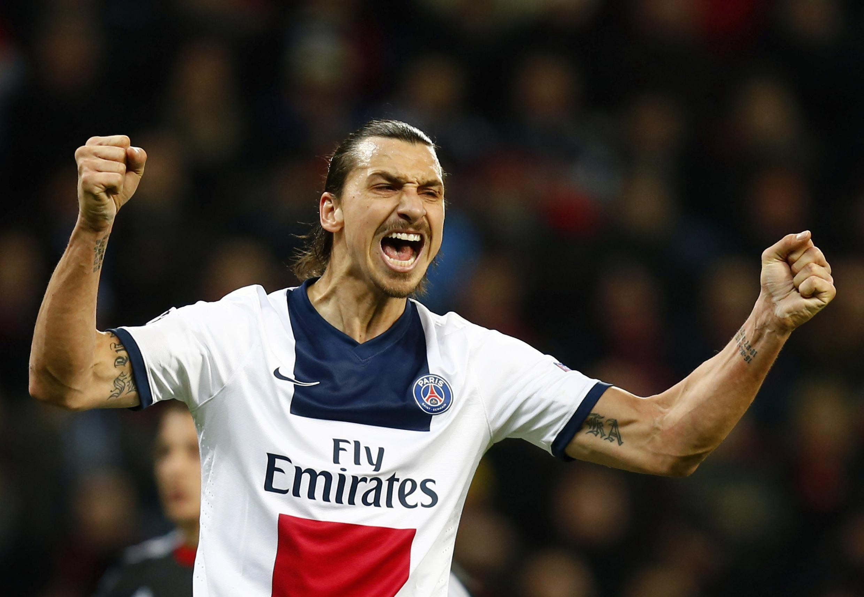 Zlatan Ibrahimovic , jogador vedeta do Paris Saint Germain, campeão francês de futebol da temporada 2013/2014