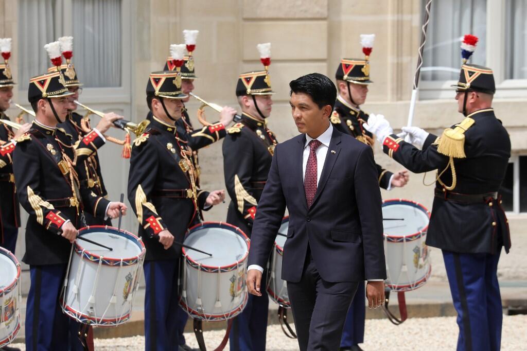Le président malgache Andry Rajoelina lors de sa visite officielle à l'Élysée le 29 mai 2019.