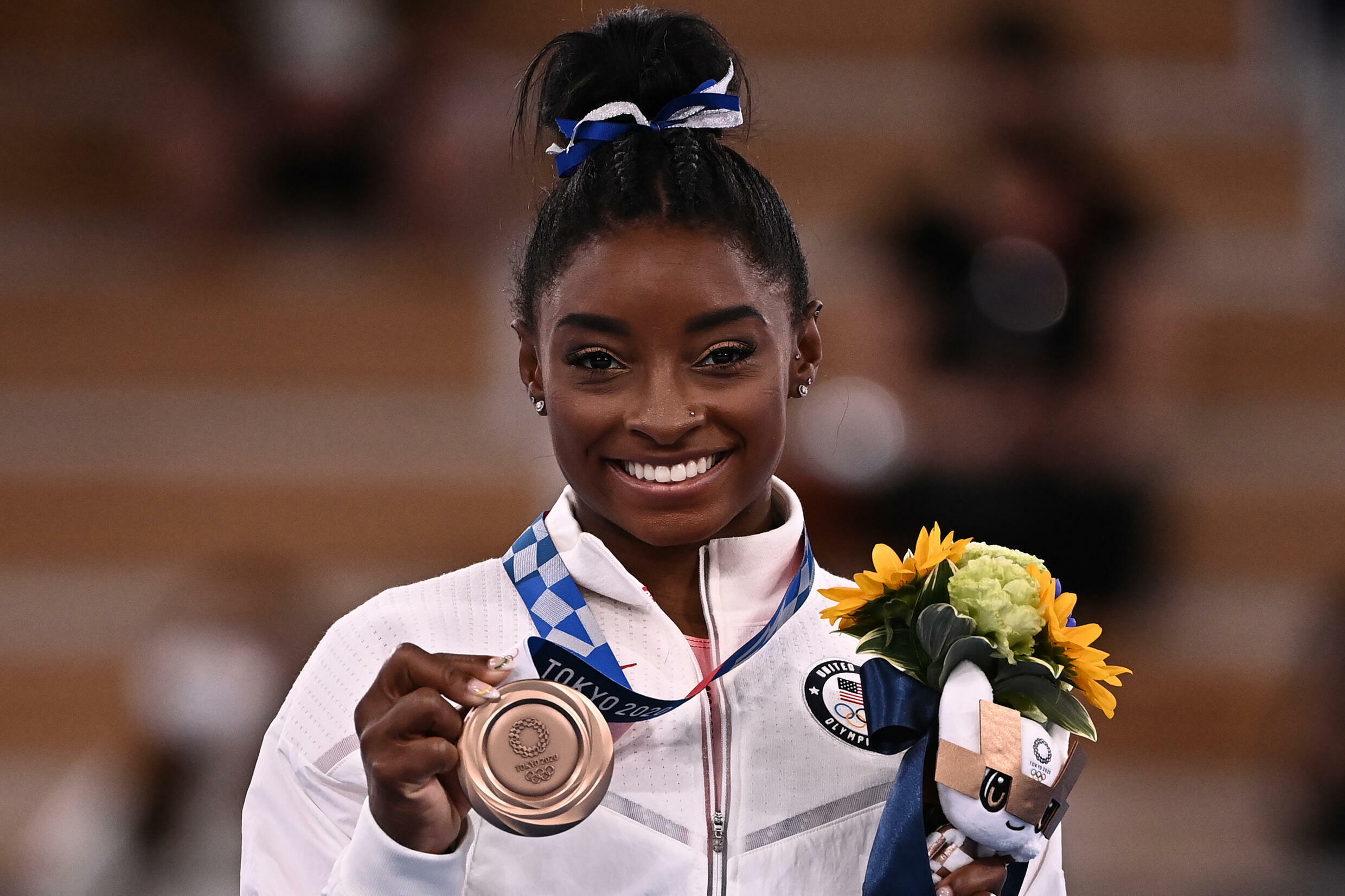 American athlete Simone Biles won a bronze medal for her performance on the beam at the Tokyo Olympics, 3 August 2021