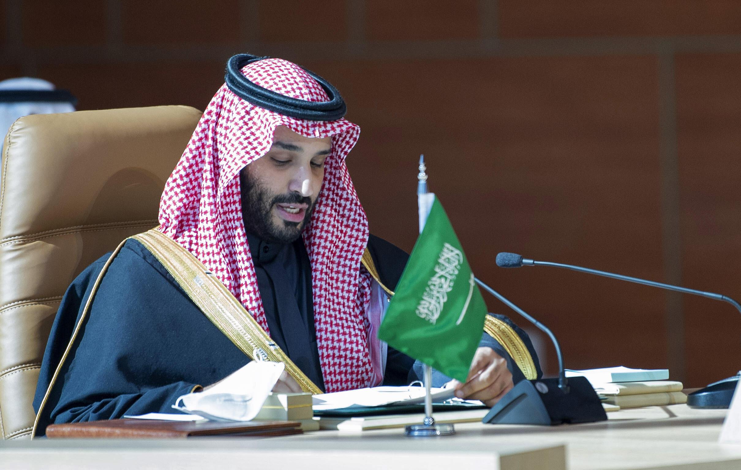 Crown Prince Mohammed bin Salman, Saudi Arabia's de factor ruler, addresses a Gulf summit in January