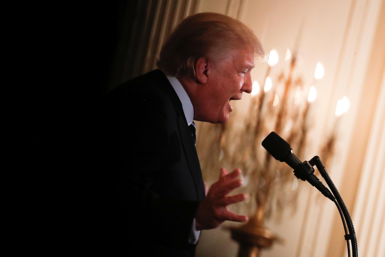 美國總統特朗普在白宮發表演說