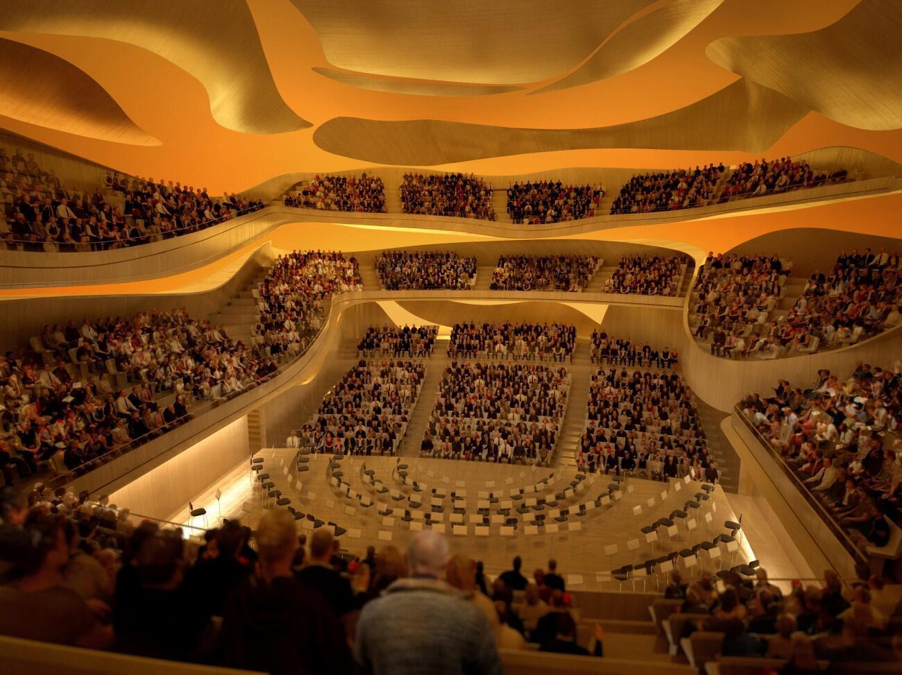 Vista de la gran sala de conciertos de la Philharmonie de París.