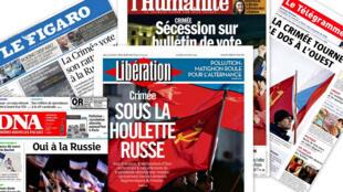 Capa dos jornais franceses, Le Figaro, L'Humanité, Libération, DNA, e Le Télégramme.
