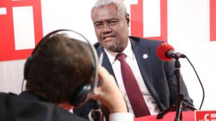 Le Tchadien Moussa Faki Mahamat, président de la Commission de l'Union africaine au XVIIe sommet de la Francophonie à Erevan en Arménie, le 13 octobre 2018.