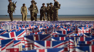 The memorial overlooks a beach where British forces landed on June 6, 1944