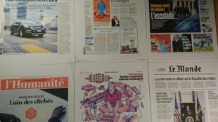 Primeiras páginas de diários  franceses 12 10 2020
