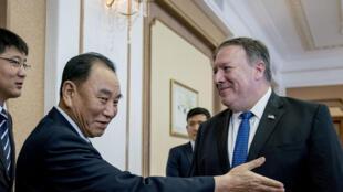 Le secrétaie d'Etat Mike Pompeo à Pyongyang, en Corée du Nord, le 6 juillet 2018.