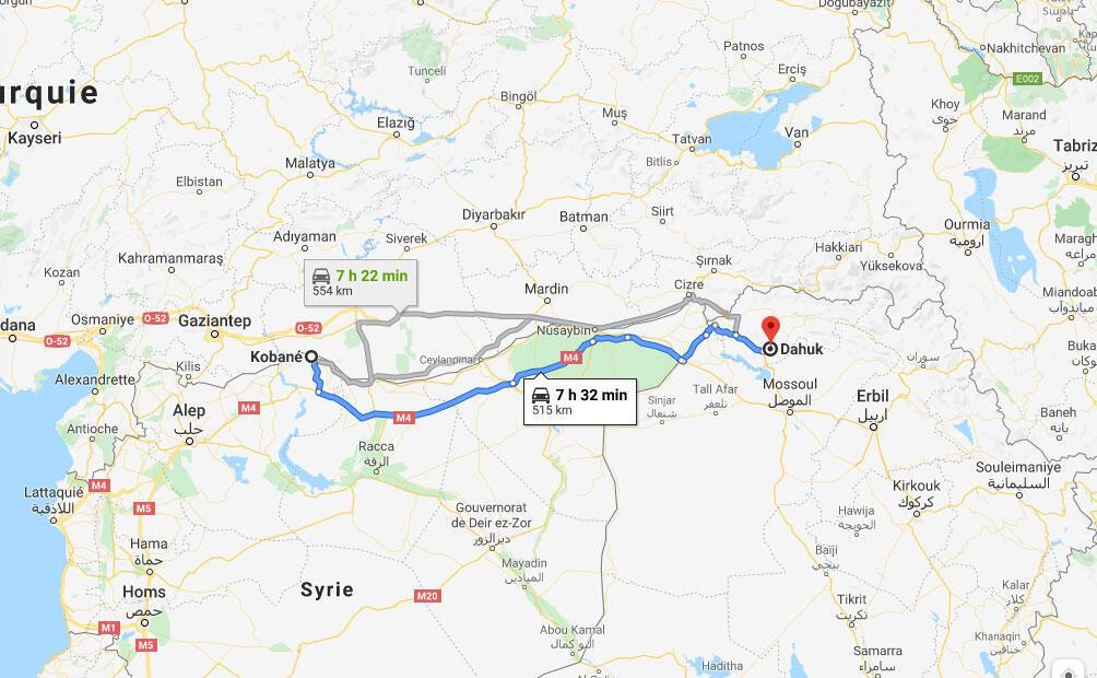 Il y a plus plus de 500 kms de Kobané (Syrie) à Dohuk (Irak).
