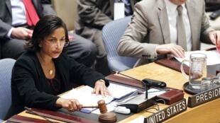Bà Susan Rice, đại sứ Mỹ tại LHQ chủ trì phiên họp của Hội đồng Bảo an về Bắc Triều Tiên, 16/04/2012.
