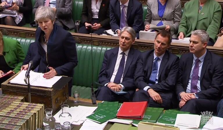 Capture d'écran vidéo de Theresa May devant la Chambre des communes à Londres, ce mardi 26 février 2019.