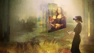Still from Mona Lisa: Beyond the Glass, part of the Leonardo da Vinci retrospective at the Louvre museum in Paris that opens 24 October 2019.