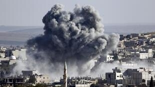 An explosion at Kobane after an airstrike