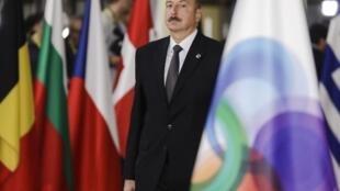 Le président Ilham Aliev, le 24 novembre 2017 à Bruxelles lors d'un sommet sur le partenariat entre les pays de l'Est de l'Europe.