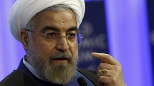 Хасан Рухани выступает на Всемирном экономическом форуме в Давосе 23/01/2014