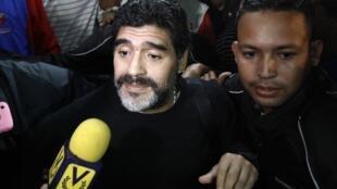Maradona durante visita a Caracas, na semana passada.