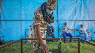This file photo shows a member of Tigray Special Forces casts his vote in a local election in the regional capital Mekelle, in the Tigray region of Ethiopia.