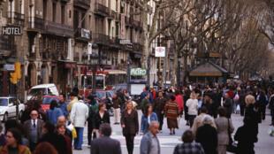 Dans les rues de Barcelone, en Espagne.