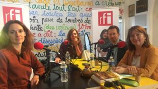 Les invités de Valérie Nivelon, de gauche à droite : Francesca Melandri, Piero Colla et Marie-Anne Matard-Bonucci.