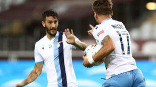 Ciro Immobile scored his 29th league goal of the season for Lazio thanks to Spanish midfielder Luis Alberto's pinpoint pass