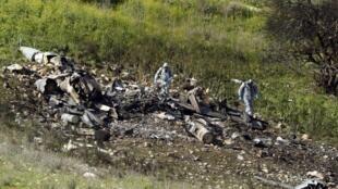 Destroços do F-16 israelita derrubado pelas forças do regime sírio. 10 de Fevereiro de 2018.