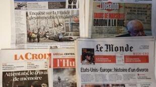 Primeiras páginas dos jornais franceses de 09  de novembro de 2018
