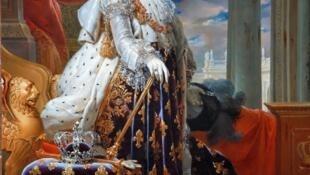 Une peinture du roi Charles X dans sa tenue de couronnement.