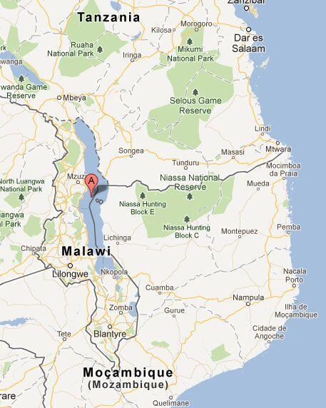 Lago Niassa, mapa da região