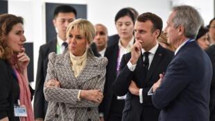 馬克龍總統夫婦11月5日在上海蓬皮杜分館揭幕