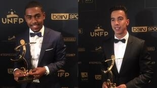 Os jogadores Malcom e Diego Rigonato, vencedores de prêmios do Sindicato dos Futebolistas Profissionais da França.