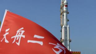 中國網絡關於天舟2號貨運飛船發射的宣傳報道圖片