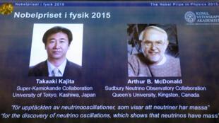 Chân dung hai giải thưởng Nobel Vật lý năm 2015, Takaaki Kajita (T) và Arthur B McDonald.