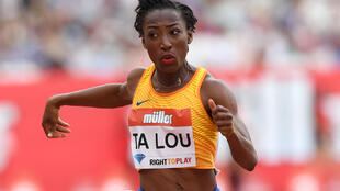 L'Ivoirienne Marie-Josée Ta Lou, lors de sa victoire sur 100m au Meeting de Londres, le 23 juillet 2016, en Ligue de Diamant.