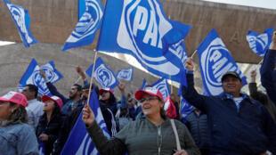 Partidarios de Ricardo Anaya, el candidato del PAN, reunidos en Ciudad de México el domingo 18 de febrero de 2018.
