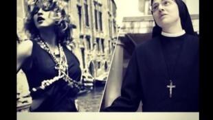 """Madonna homenageia Irmã Cristina, freira italiana que lançou disco com versão de """"Like a Virgin"""", com fotomantagem no Twitter."""