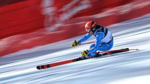 L'Italienne Federica Brignone lors de la 1re manche du combiné des Championnats du monde de ski alpin, à Cortina d'Ampezzo en Italie, le 15 février 2021