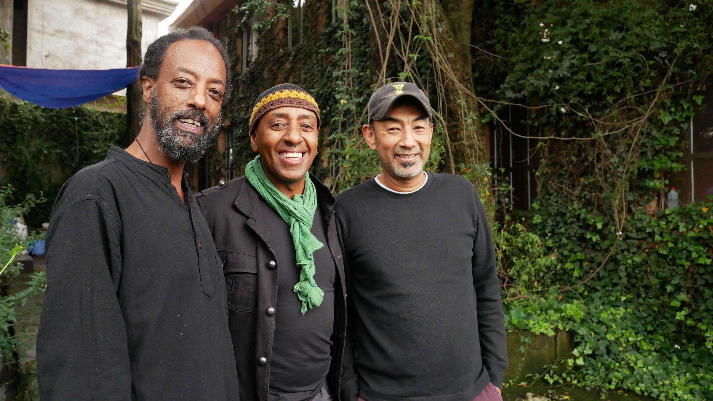 L. to R.: Tewodros Aklilu, Henock Temesgen, Abegasu Kebre Work, in Addis July 2020