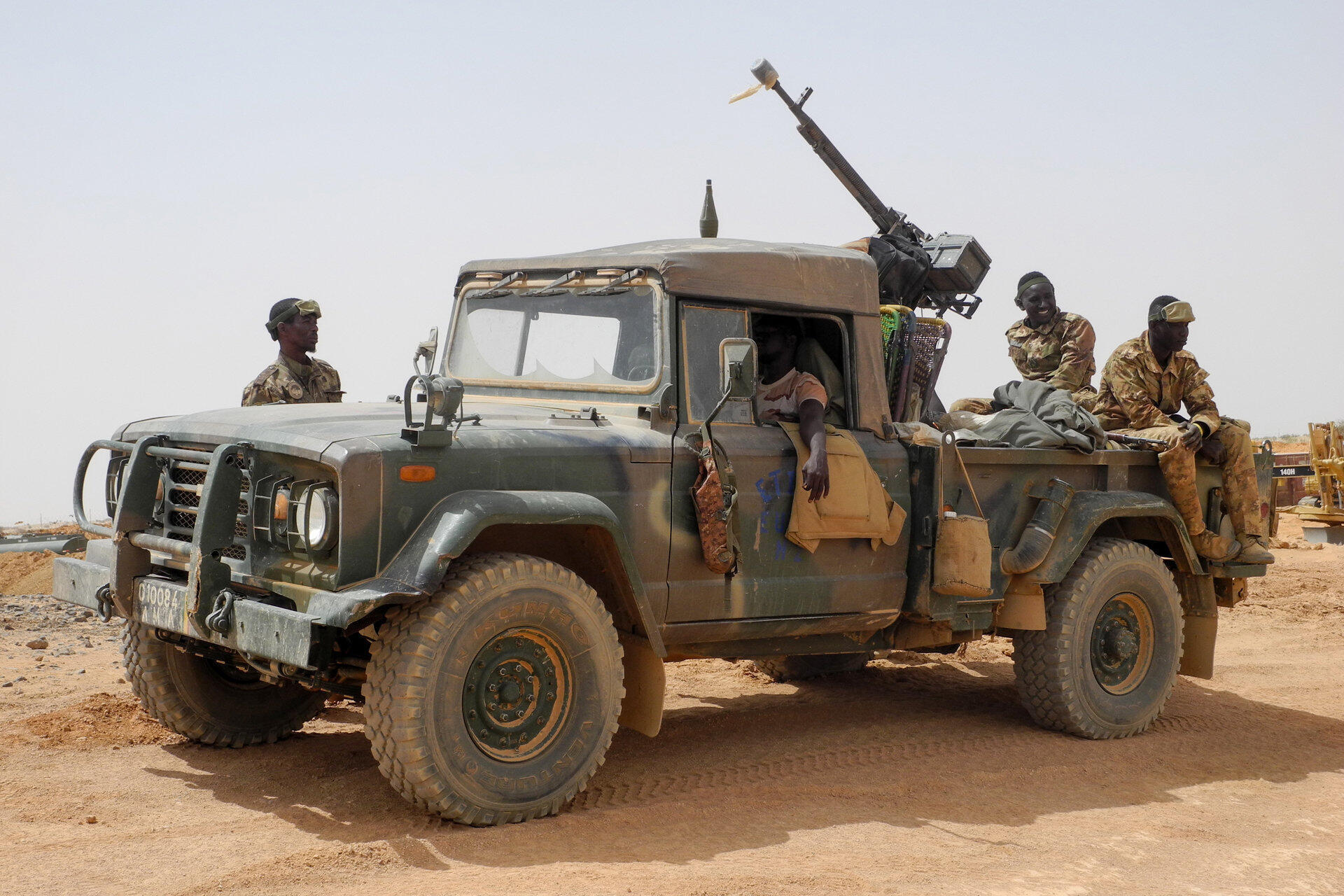 Members of the Malian Army (Fama) patrol in Anderamboukane, Menaka region, 22 March 2019.