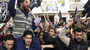 Manifestación en un campo de refugiados palestinos en Líbano.