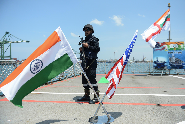 L'exercice naval au large de l'Inde du Sud en juillet 2017, avec la participation des marines américaine et japonaise.