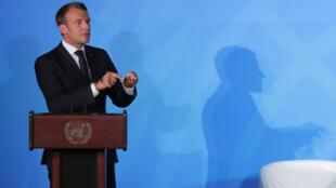 """امانوئل ماکرون، رئیس جمهوری فرانسه، در اولین روز  """"نشست اقلیمی ٢٠۱٩"""" سازمان ملل در نیویورک. دوشنبه اول مهر/ ٢٣ سپتامبر ٢٠۱٩"""