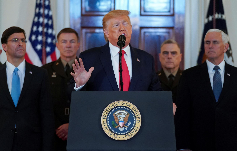 Tổng thống Mỹ Donald Trump phát biểu tại Nhà Trắng ngày 8/1/2020 về vụ Iran tấn công căn cứ Mỹ tại Irak.